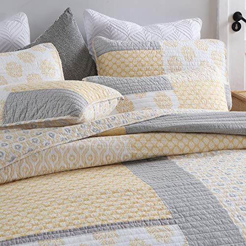 Y PLWOMEN Bedspread Quilt Set Cotton Reversible Quilting Coverlet 3 Piece Real Patchwork Soft Farmhouse Floral Luxury Lightweight Bed Cover For All SeasonQueen Size 0 0