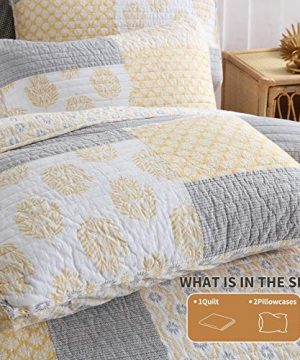 Y PLWOMEN Bedspread Quilt Set Cotton Reversible Quilting Coverlet 3 Piece Real Patchwork Soft Farmhouse Floral Luxury Lightweight Bed Cover For All SeasonQueen Size 0 2 300x360