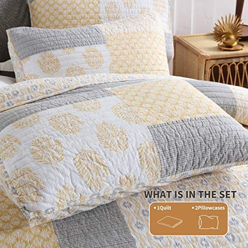 Y PLWOMEN Bedspread Quilt Set Cotton Reversible Quilting Coverlet 3 Piece Real Patchwork Soft Farmhouse Floral Luxury Lightweight Bed Cover For All SeasonQueen Size 0 2