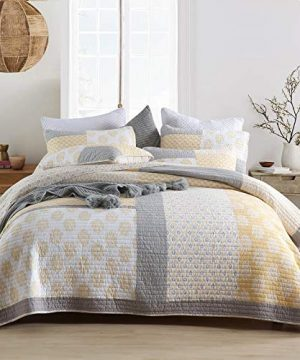 Y PLWOMEN Bedspread Quilt Set Cotton Reversible Quilting Coverlet 3 Piece Real Patchwork Soft Farmhouse Floral Luxury Lightweight Bed Cover For All SeasonQueen Size 0 300x360