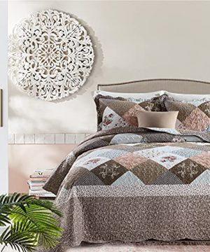 Y PLWOMEN Bedspread Quilt Set Queen Patchwork Plaid Farmhouse Reversible Soft Modern Chic Floral Lightweight BedspreadsCoverlet Bedding Set Queen Size 3 Piece 0 300x360