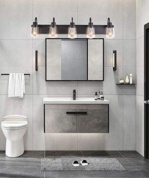 YAOHONG Modern Bathroom Vanity Light 5 Light Lamp In Black Farmhouse Wall Light Fixture With Clear Glass ShadesIndoor Wall Lamp 0 0 300x360