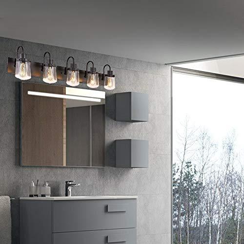 YAOHONG Modern Bathroom Vanity Light 5 Light Lamp In Black Farmhouse Wall Light Fixture With Clear Glass ShadesIndoor Wall Lamp 0 1