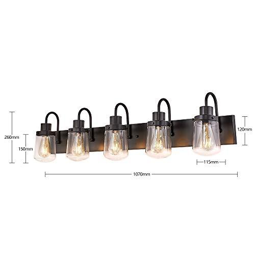 YAOHONG Modern Bathroom Vanity Light 5 Light Lamp In Black Farmhouse Wall Light Fixture With Clear Glass ShadesIndoor Wall Lamp 0 2
