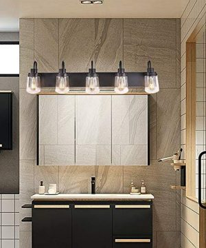 YAOHONG Modern Bathroom Vanity Light 5 Light Lamp In Black Farmhouse Wall Light Fixture With Clear Glass ShadesIndoor Wall Lamp 0 3 300x360