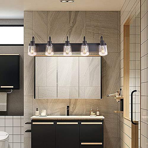 YAOHONG Modern Bathroom Vanity Light 5 Light Lamp In Black Farmhouse Wall Light Fixture With Clear Glass ShadesIndoor Wall Lamp 0 3