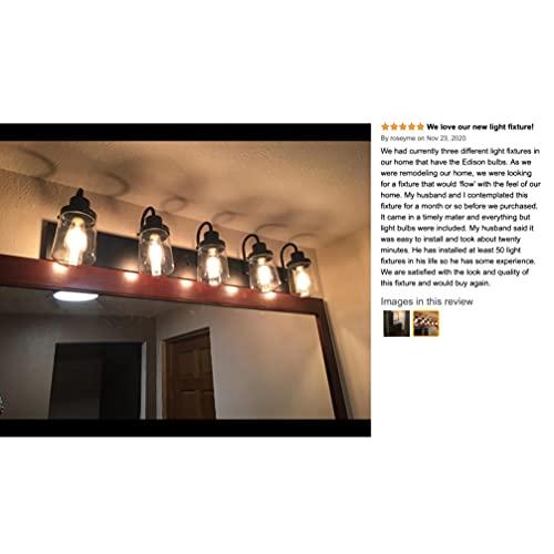 YAOHONG Modern Bathroom Vanity Light 5 Light Lamp In Black Farmhouse Wall Light Fixture With Clear Glass ShadesIndoor Wall Lamp 0 4