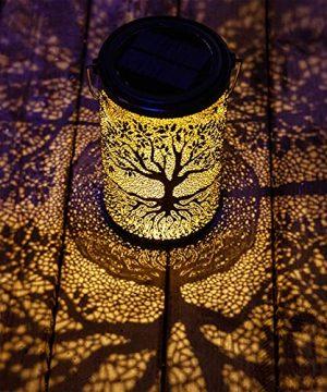 YJFWAL Solar Lantern Lights Hanging Lights Outdoor Pathway Lights Solar Table Lights Waterproof For Garden Patio Lawn Yard Deck Tree Party Decor Warm White Banyan 0 300x360
