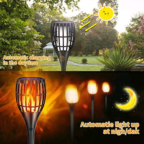 YUJENY Solar Torch Lights Upgraded Waterproof Landscape Garden Pathway Light With Vivid Dancing Flickering Flames With Auto OnOff Dusk To Dawn For Garden Patio Yard And Backyard Decor 0 3