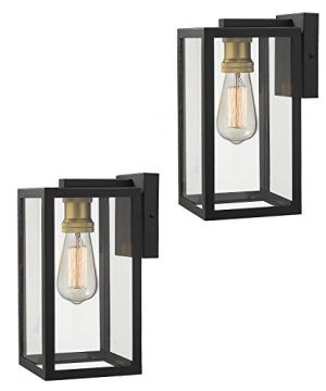 Zeyu Exterior Wall Mount Light 2 Pack 1 Light Outdoor Wall Sconce Light Fixtures For Porch Black And Gold Finish With Clear Glass 02A151 2PK BK 0 300x360