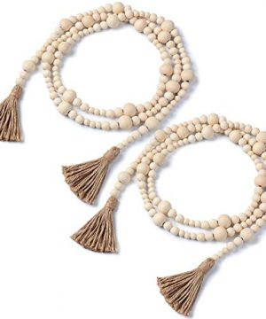 2 Pieces Wood Bead Garland With Tassels 148 Feet Farmhouse Wooden Bead Garland Prayer Boho Beads Garland Natural Holiday Tiered Tray Decor Wall Hanging Garland For Home Ornament Natural Wood Color 0 300x360