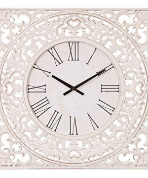 24 Distressed White Ornate Wood Carved Wall Clock 0 300x360