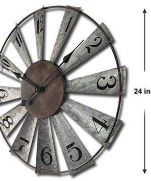 24inch Windmill Distressed Metal Wall Clocks Rustic Large Decorative Clock Oversized Farmhouse DecorNon TickingBattery Operated 0 0 300x360