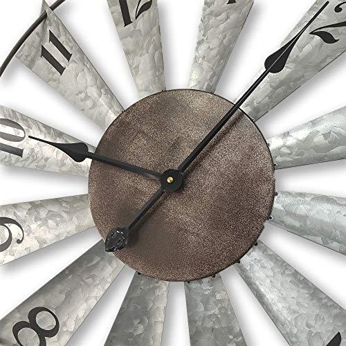 24inch Windmill Distressed Metal Wall Clocks Rustic Large Decorative Clock Oversized Farmhouse DecorNon TickingBattery Operated 0 1
