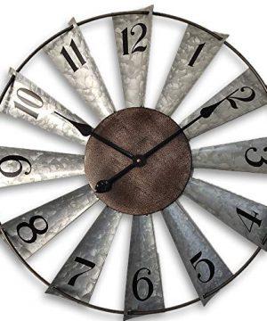 24inch Windmill Distressed Metal Wall Clocks Rustic Large Decorative Clock Oversized Farmhouse DecorNon TickingBattery Operated 0 300x360