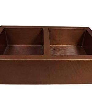 33 Soluna Double Bowl Copper Farmhouse Sink With Flat Apron Front Cafe Natural Finish Double Well Copper Kitchen Sink 5050 Bowl Split Antique Style Pure Copper Sink Deluxe Hammered Copper Sink 0 300x360