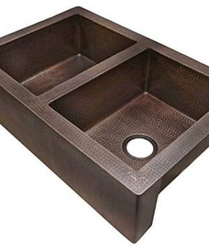 42 Soluna Double Well Jumbo Copper Farmhouse Sink With Flat Apron Front Rio Grande Finish Double Bowl Copper Kitchen Sink 5050 Bowl Split Antique Style Copper Sink Luxury Hammered Copper Sink 0 0 300x360