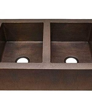 42 Soluna Double Well Jumbo Copper Farmhouse Sink With Flat Apron Front Rio Grande Finish Double Bowl Copper Kitchen Sink 5050 Bowl Split Antique Style Copper Sink Luxury Hammered Copper Sink 0 300x360