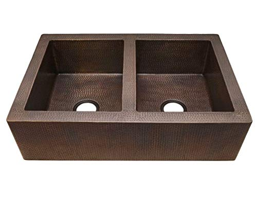 42 Soluna Double Well Jumbo Copper Farmhouse Sink With Flat Apron Front Rio Grande Finish Double Bowl Copper Kitchen Sink 5050 Bowl Split Antique Style Copper Sink Luxury Hammered Copper Sink 0