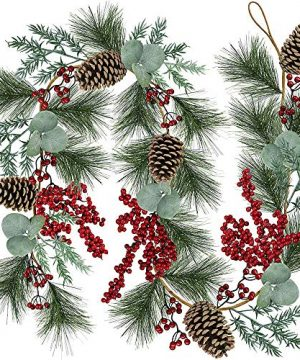 6 Long Christmas Artificial Pine Needle Garland Wired Rustic Twig Vine Birch Garland With Assorted Faux Red Berries Eucalyptus Leaves Natural Pine Cones Fir Sprigs Garland Holiday Season Winter Decor 0 300x360