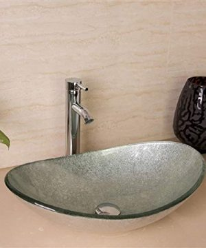 Aegina Oval Bathroom Glass Sink With Faucet Drain Chrome Faucet A Pop Up DrainTempered Glass Sink BS159FPD Elegant Design Standard Drain Opening 175 Inch 0 300x360