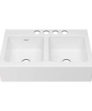 American Standard 77DB36220A308 Delancey 36x22 Double Bowl Cast Iron Apron Front Kitchen Sink 36 X 22 Inch Brilliant White 0 0 300x360