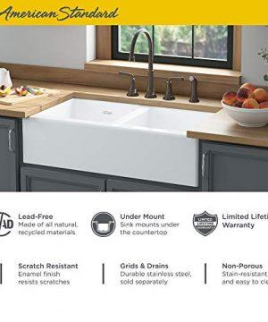 American Standard 77DB36220A308 Delancey 36x22 Double Bowl Cast Iron Apron Front Kitchen Sink 36 X 22 Inch Brilliant White 0 1 300x360