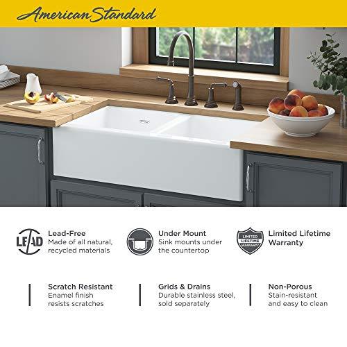 American Standard 77DB36220A308 Delancey 36x22 Double Bowl Cast Iron Apron Front Kitchen Sink 36 X 22 Inch Brilliant White 0 1