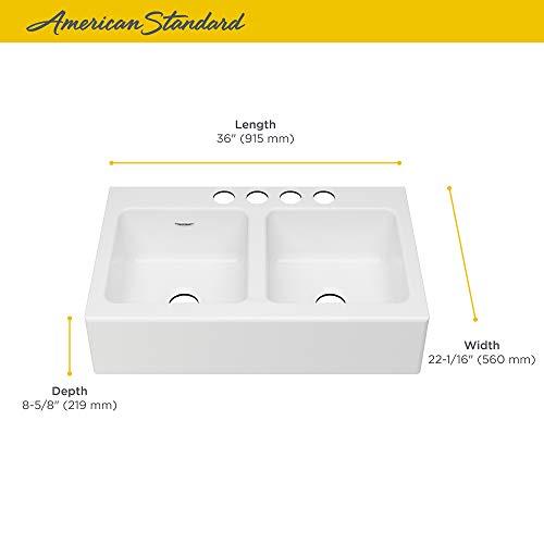 American Standard 77DB36220A308 Delancey 36x22 Double Bowl Cast Iron Apron Front Kitchen Sink 36 X 22 Inch Brilliant White 0 2