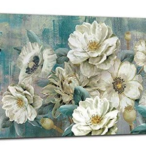 Arjun Canvas Wall Art White Flowers Elegant Modern Picture Foil Gold Rustic Painting Colorful Turquoise Floral 60x30 Large Size Teal Artwork For Living Room Bedroom Dining Room Home Office Decor 0 300x309