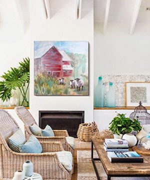ArtbyHannah 36x36 Inch Large Farmhouse Rustic Wall Decor Barn Canvas Wall Art Painting Pictures For Dinning RoomHand Painted Oil Painting On Canvas Contemporary Art For Home Decor Framed 0 300x360