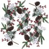 Artificial Christmas Pine Garland With Berries Pinecones Spruce Eucalyptus Leaves Cotton Balls Winter Greenery Garland For Holiday Season Mantel Fireplace Table Runner Centerpiece Decor 6 Feet 0 100x100