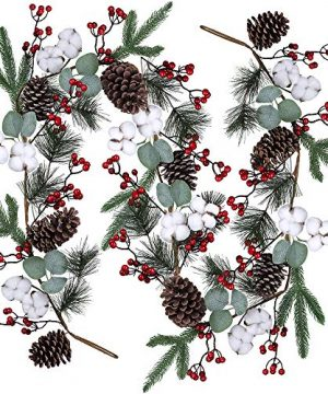 Artificial Christmas Pine Garland With Berries Pinecones Spruce Eucalyptus Leaves Cotton Balls Winter Greenery Garland For Holiday Season Mantel Fireplace Table Runner Centerpiece Decor 6 Feet 0 300x360
