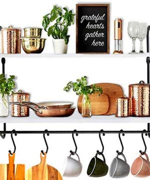 BOLUO Kitchen Wall Shelf White Floating Shelves Bathroom Mounted Shelving With Towel Bar Hooks For Coffee Mugs Modern Shelfs 24 Inch WS604 60W 0 300x360