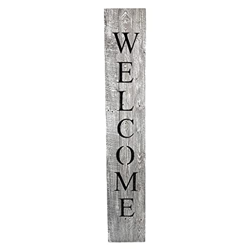 BarnwoodUSA Farmhouse Rustic Welcome Sign For Front Porch 5ft Front Door Decor Vertical Barnwood Welcome Sign Antique Outdoor Standing Sign Sturdy White Wash 0 0