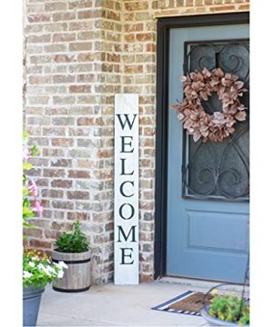 BarnwoodUSA Farmhouse Rustic Welcome Sign For Front Porch 5ft Front Door Decor Vertical Barnwood Welcome Sign Antique Outdoor Standing Sign Sturdy White Wash 0 1 300x360