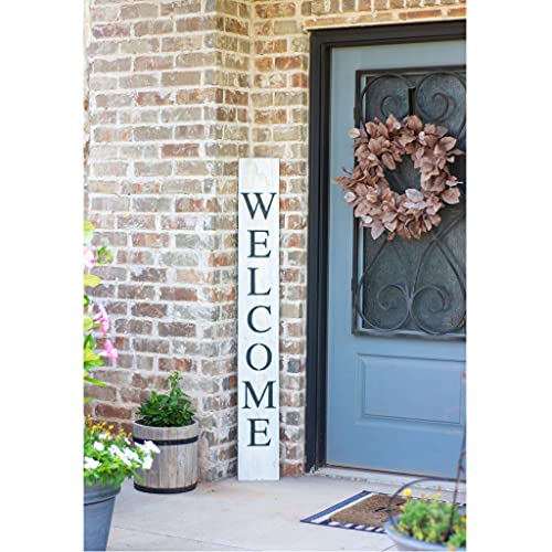 BarnwoodUSA Farmhouse Rustic Welcome Sign For Front Porch 5ft Front Door Decor Vertical Barnwood Welcome Sign Antique Outdoor Standing Sign Sturdy White Wash 0 1