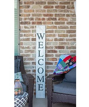 BarnwoodUSA Farmhouse Rustic Welcome Sign For Front Porch 5ft Front Door Decor Vertical Barnwood Welcome Sign Antique Outdoor Standing Sign Sturdy White Wash 0 3 300x360