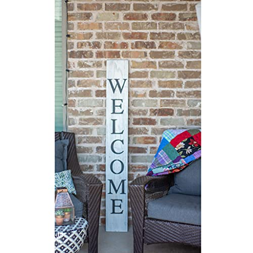 BarnwoodUSA Farmhouse Rustic Welcome Sign For Front Porch 5ft Front Door Decor Vertical Barnwood Welcome Sign Antique Outdoor Standing Sign Sturdy White Wash 0 3