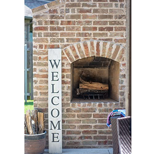 BarnwoodUSA Farmhouse Rustic Welcome Sign For Front Porch 5ft Front Door Decor Vertical Barnwood Welcome Sign Antique Outdoor Standing Sign Sturdy White Wash 0 4