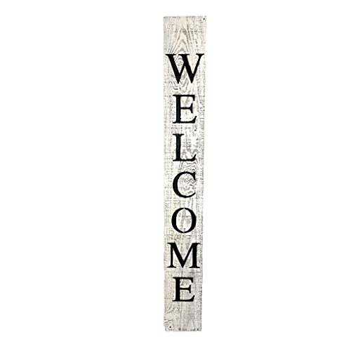 BarnwoodUSA Farmhouse Rustic Welcome Sign For Front Porch 5ft Front Door Decor Vertical Barnwood Welcome Sign Antique Outdoor Standing Sign Sturdy White Wash 0