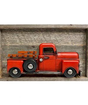 BarnwoodUSA Vintage Red Christmas Truck Wall Sign Farmhouse Metal Truck Wall Art Automotive Old Vehicle Decor Rustic Wooden Wall Sign 0 300x360