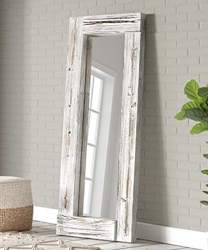 Barnyard Designs 24 X 58 Decorative Wall Or Floor Mirror Rustic Whitewashed Wooden Frame Vertical And Horizontal Hanging Farmhouse Mirror Decor White 0 300x360