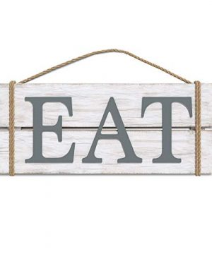 Barnyard Designs Eat Wood Wall Art Sign Rustic Primitive Farmhouse Decoration Country Kitchen And Home Wall Decor Hanging Wood And Rope Sign WhiteGrey 17 X 7 0 300x360