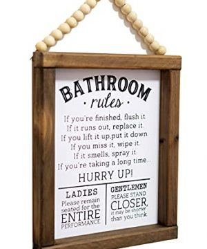 Bathroom Rules Wood Wall Sign With Beaded Hanger Funny Toilet Sign Funny Rustic Bathroom Decor Sign Cute Wall Art Humor Restroom Sign Farmhouse Half Bathroom Decoration Sign Funny Quotes 8x10 Inch 0 300x360