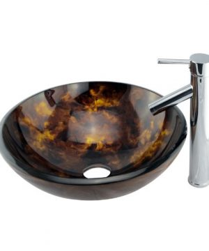 Bathroom Tempered Glass Vessel Sink With Unique Hand Painting Pattern Chrome Single Lever Faucet Combo 0 300x360