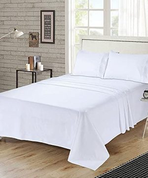 Bed Sheets Set Queen Size Anvo Luxury Thicker Microfiber Sheets Hypoallergenic Soft 1800 Thread Count 16 Inch Deep Pocket White 4PC 0 0 300x360