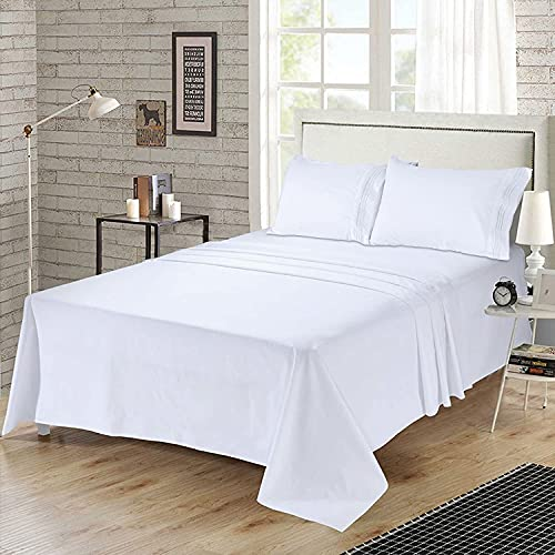 Bed Sheets Set Queen Size Anvo Luxury Thicker Microfiber Sheets Hypoallergenic Soft 1800 Thread Count 16 Inch Deep Pocket White 4PC 0 0