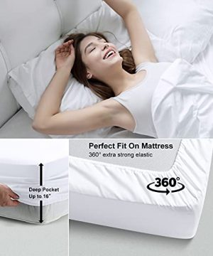 Bed Sheets Set Queen Size Anvo Luxury Thicker Microfiber Sheets Hypoallergenic Soft 1800 Thread Count 16 Inch Deep Pocket White 4PC 0 1 300x360