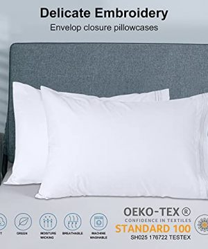 Bed Sheets Set Queen Size Anvo Luxury Thicker Microfiber Sheets Hypoallergenic Soft 1800 Thread Count 16 Inch Deep Pocket White 4PC 0 2 300x360